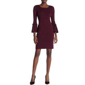 NWT Nina Leonard Ribbed Knit Bell Sleeve Dress